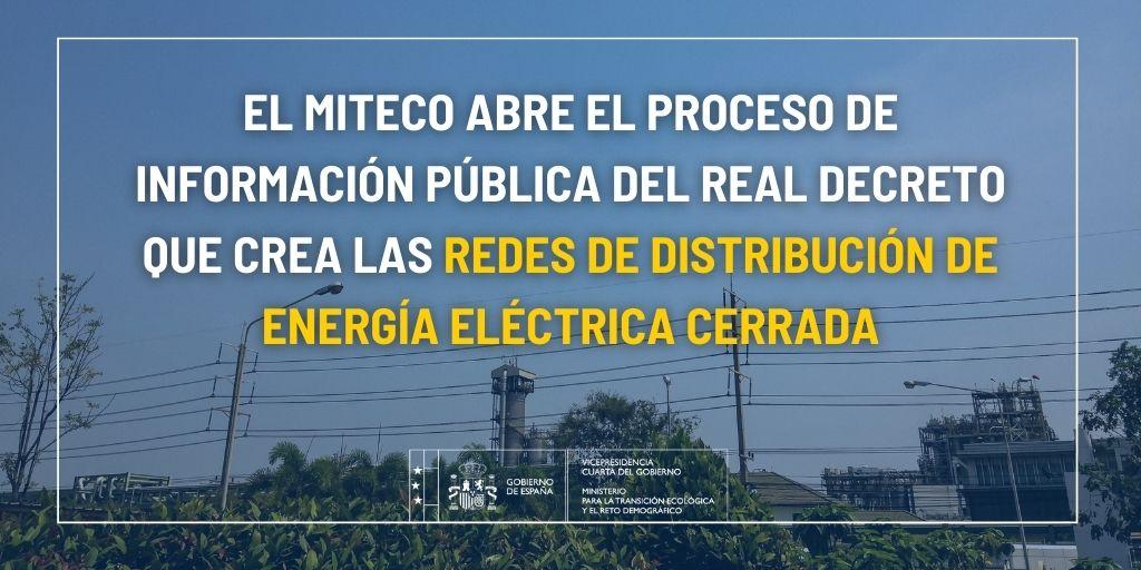 Se abre el proceso de información pública del Decreto que crea las redes de distribución de energía eléctrica cerrada
